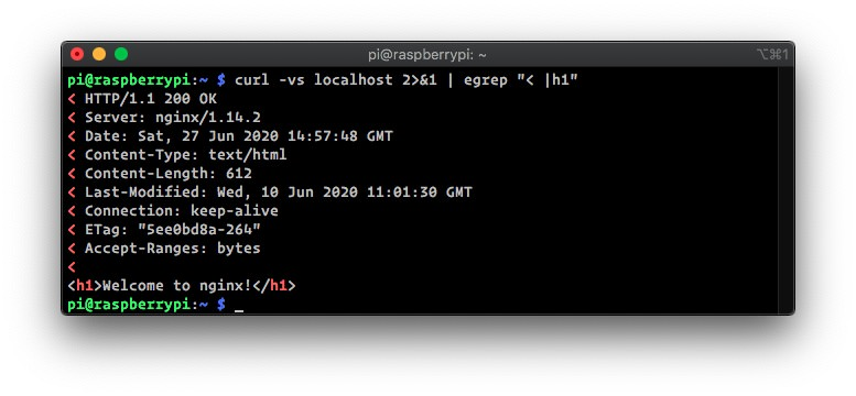 nginx/1.14.2 running on the Raspberry Pi